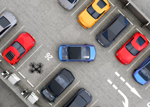 overhead view of parking lot