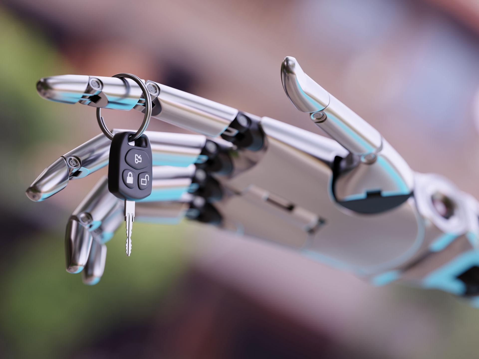 robot hand with car keys